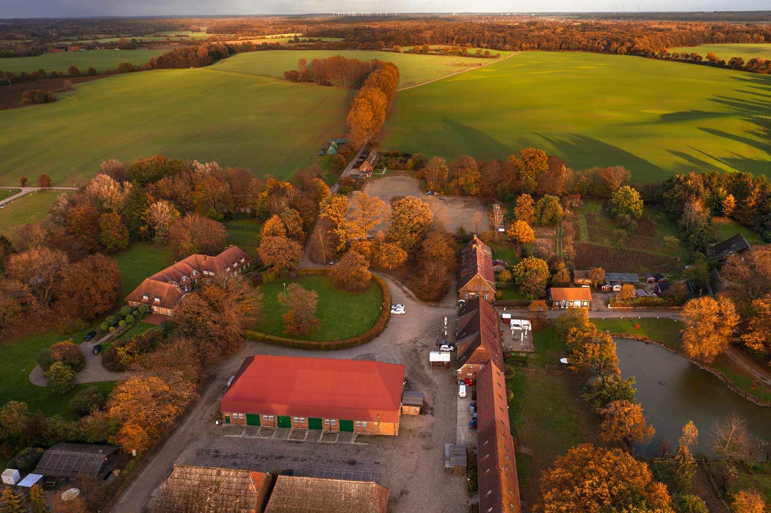 Das Gut Basthorst bei Hamburg im Herbst bei Sonnenuntergang aus Westen in Richtung Mühlenrade. Die Jagdschule v. Fürstenberg auf dem Gut Basthorst.
