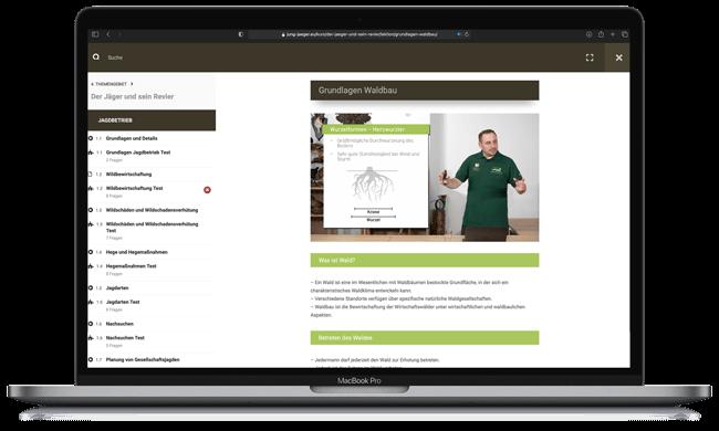 Online Jagdschein Kurs auf dem Macbook